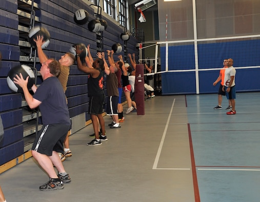Functional Fitness Program students perform a wall-ball skill during the Functional Fitness Program,