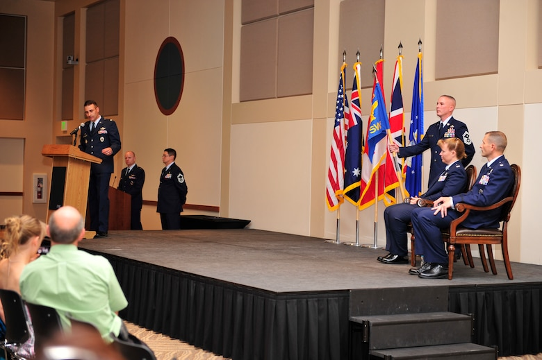 Lt. Col. John Henley, former 2nd Space Warning Squadron commander, says his final farewell to Team Buckley June 19, 2013, at the Leadership Development Center on Buckley Air Force Base, Colo. During his speech, Henley shared memories from his two years commanding the 2nd SWS and receiving the excellence performance award in the 2012 operational readiness inspection. (U.S. Air Force photo by Airman 1st Class Darryl Bolden Jr./Released)