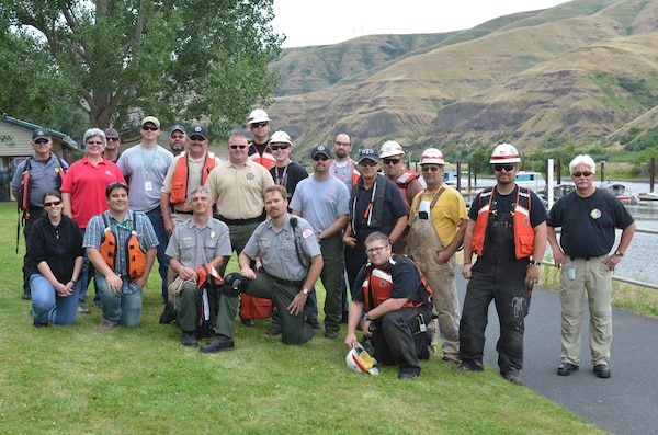 Whitman County Emergency Management, Sheriff and vessel, and Public Health; Nez Perce County Sheriff and vessel; Asotin County Fire and Rescue and vessel; Washington Department of Ecology's Spill Preparedness and Prevention response team, and Corps personnel and vessels from Lower Granit, Little Goose, and Clarkston participated in the June 26 oil spill training exercise.