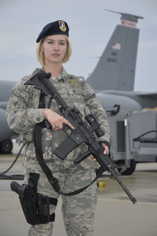U.S. Air Force Airman 1st Class Courtney Metzger is a security forces journeyman with the 128th Air Refueling Wing, Wisconsin Air National Guard in Milwaukee, Wis.  She has worked in the 128th Security Forces Squadron at the for over one year.  (U.S. Air National Guard photo by Staff Sgt. Jenna Hildebrand/Released)