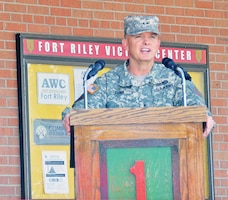 Maj. Gen. Paul E. Funk II, commanding general, 1st Inf. Div. and Fort Riley, speaks at the official ribbon cutting of the Victory Center June 21 at Building 7285 on Custer Hill.  Photo by: Calun Reece, POST.