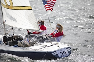 US Armed Forces Women's Sailing Team with skipper LT Trisha Kutkiewicz (Right) during day three of the 2013 CISM World Military Sailing Championship at the Askøy Yacht Club in Bergen, Norway.