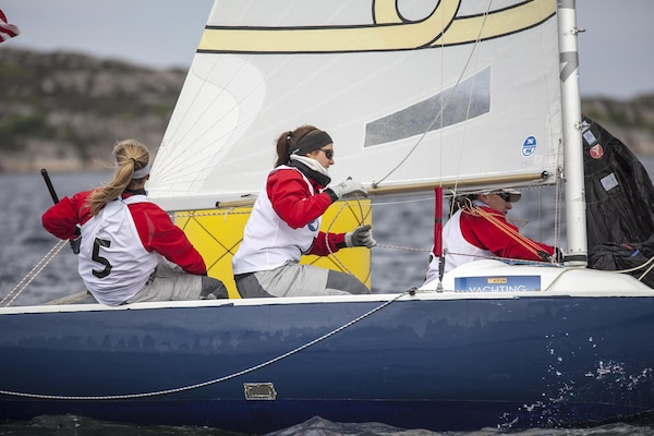 US Women wrap up day three holding steady in third place during the 2013 CISM World Military Sailing Championship at the Askoy Yacht Club in Bergen, Norway.  Left to right is: Skipper, LT Trisha Kutkiewicz (Navy) and crewmembers LTJG Kyrsta Rohde (USCG) and LT Elizabeth Tufts (USCG).