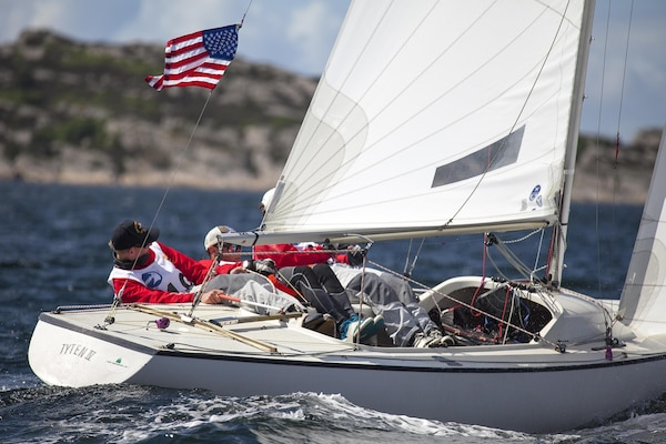 Team USA Men led by skipper ENS Taylor Vann round the corner during the 2013 CISM World Military Sailing Championship in Askoy, Bergen, Norway 27 June to 4 July.