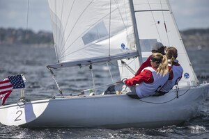 Team USA Women led by skipper Navy Lieutenant Trish Kutkiewicz sail towards the bronze medal in the 2013 CISM World Sailing Championship in Bergen, Norway 27 June - 4 July.