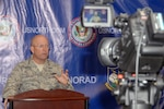 Air Force Gen. Gene Renuart, North American Aerospace Defense Command and U.S. Northern Command commander, holds his final scheduled press conference at NORAD and U.S. NORTHCOM headquarters May 13. During the press conference, Renuart discussed the two commands' successes and the challenges they face in the next decade.