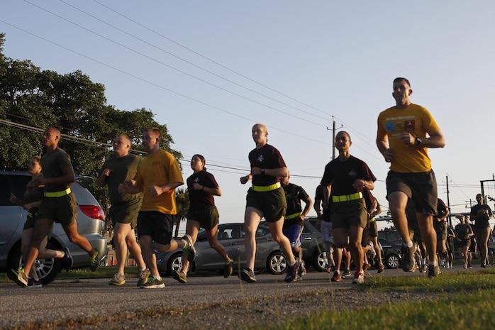 Participants in the Submarine Run run aboard Marine Corps Recruit Depot Parris Island, June 26.