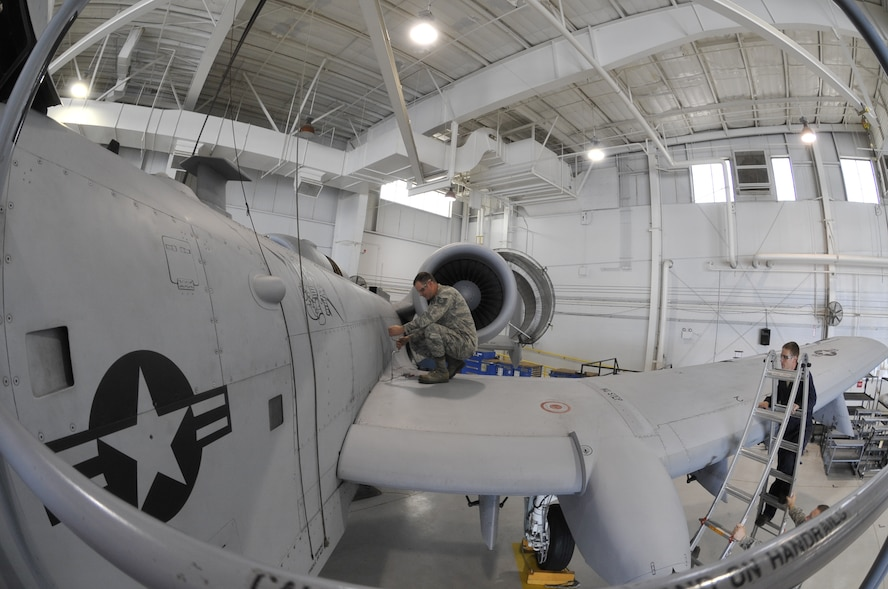 Tech. Sgt. Michael Schuler, 442nd Maintenance Squadron phase dock technician, removes panel F-83 off an A-10 Thunderbolt II at Whiteman Air Force Base, Mo., June 11, 2013. Removing this panel enables maintenance techs to inspect the A-10 and locate any internal discrepancies. (U.S. Air Force photo by Airman 1st Class Keenan Berry/Released)