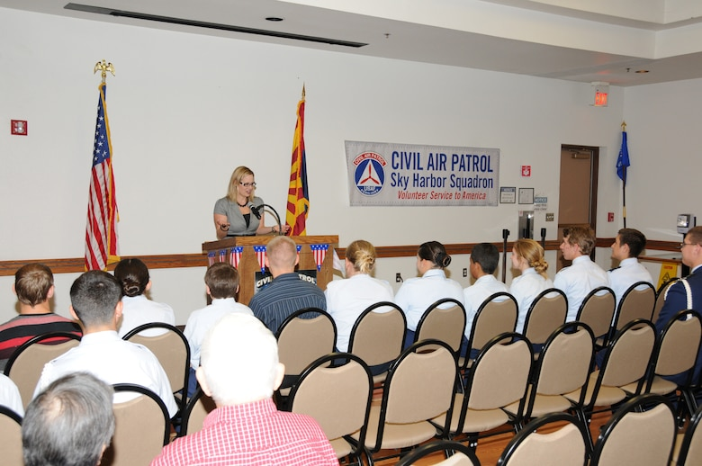 Congresswoman Kyrsten Sinema serving Arizona's Ninth Congressional district, spoke to the Civil Air Patrol Sky Harbor Squadron 301 at the 161st Air Refueling Wing July 1, 2013. Sinema addressed the cadets about the importance of volunteering and the significance of their role in the Civil Air Patrol. (U.S. Air National Guard photo by Master Sgt. Kelly M. Deitloff/Released)