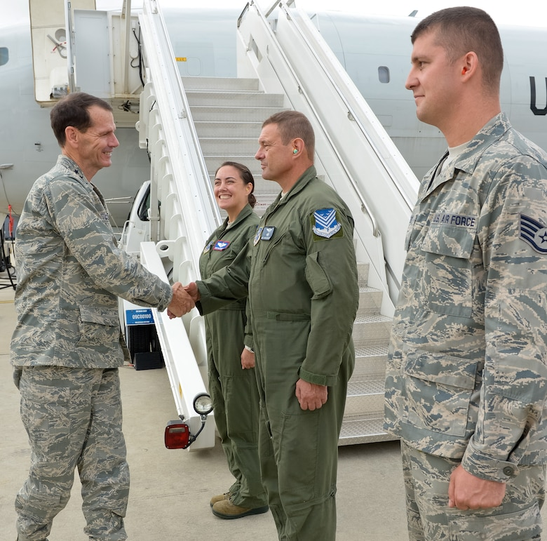 Lt. Gen. Stanley E. Clarke III, director of the Air National Guard, greets Airmen from Team JSTARS during an orientation visit to the 116th and 461st Air Control Wings at Robins Air Force Base, Ga., July 3, 2013.  The visit is Clarke's first to Team JSTARS since becoming director of the Air National Guard.  During the visit Clarke received a mission orientation, toured the E-8C and visited Airmen and Soldiers throughout the unit. (U.S. Air National Guard photo by Master Sgt. Roger Parsons/Released)