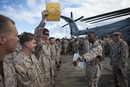 Master Sgt. Steven Covington, the communications chief for the command element, 31st Marine Expeditionary Unit, and native of Juliet, Ill., leads accountability during an abandon ship drill here, July 3. The abandon ship drill ensures the Marines and Sailors know the location of their gathering point and their assigned life raft in case of emergency. The 31st MEU is the only continuously forward deployed MEU and is the Marine Corps' force in readiness in the Asia-Pacific region.