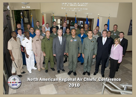 Participants of the North American Regional Air Chiefs Conference pose for a group photo in the Killey Center for Homeland Operations at Tyndall AFB, Fla., July 12-15, 2010. The air domain experts attended the 3-day conference to 'forge partnerships' that impact air domain issues in North America.