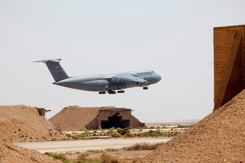 A C-5 Galaxy aircraft lands at a training base in Northern Jordan as part of Exercise Eager Lion. Eager Lion is a U.S. Central Command-directed, irregular warfare-themed exercise focusing on missions the United States and its coalition partners might perform in support of global contingency operations. (U.S. Air National Guard photo by Senior Master Sgt. John P. Rohrer)