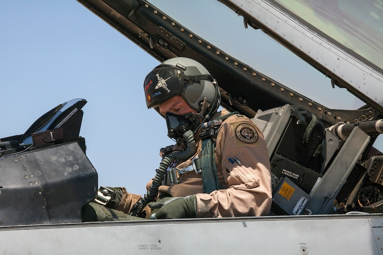 Capt. James Edwards, a pilot with the 120th Fighter Squadron, Colorado Air National Guard, prepares for takeoff as part of a scramble competition event between the Colorado Air National Guard and the Royal Jordanian Air Force. The Scramble tests the pilots and their crew chiefs in their ability to launch aircraft in a simulated quick response scenario during Eager Lion. Eager Lion is a U.S. Central Command-directed, irregular warfare-themed exercise focusing on missions the United States and its coalition partners might perform in support of global contingency operations. (U.S. Air National Guard photo by Senior Master Sgt. John P. Rohrer)
