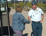 Canadian Col. Pierre Ruel, North American Aerospace Defense Command Training and Exercise Branch, greets members of the National School Board Association as they arrive at the NORAD and U.S. Northern Command headquarters at Peterson Air Force Base Sept. 17. The commands provided a tour for the NSBA members who are in Colorado for their annual western region conference.