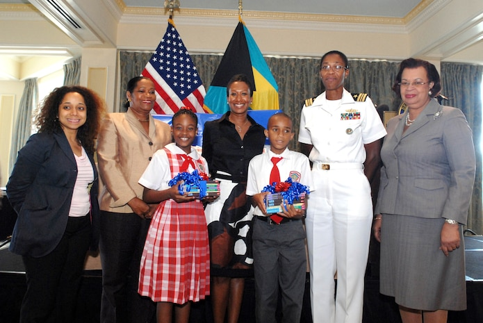 "U.S. Ambassador to The Bahamas Nicole A. Avant donated $10,000 in books to the Ministry of Education Oct. 5 to support the United States Embassy-initiated ""Read To Lead"" program. Funding for the book donation was provided by the U.S. Northern Command as part of its long-standing partnership with the island nation. On hand for the official book handover was Deputy Assistant Secretary, Western Hemisphere Affairs, Julissa Reynoso; Delores Ingraham, President, New Providence Association of Public High Schools; Alexis Thompson, student, Sadie Curtis Primary School; U.S. Ambassador Nicole A. Avant, Reagan Cartwright, student, Sadie Curtis Primary School; Navy Lt. Cmdr. Janice Smith, Chief of the U.S. Office of Defense Coordination and Permanent Secretary and Ministry of Education Elma Garraway."