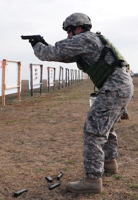 Sgt. 1st Class Antonio Turberville, operations noncommissioned officer, Headquarters Support Company, Army North, fires an M-9 Berretta Pistol during advanced marksmanship training Jan. 20 at the Camp Bullis Military Training Reservation in San Antonio.