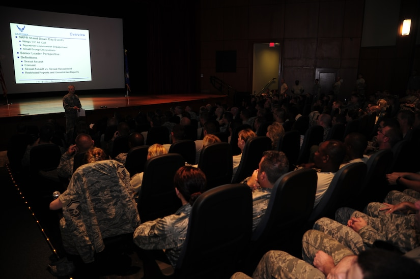 """Col. Darren Hartford, 437th Airlift Wing commander, speaks to Airmen and civilians during a sexual assault awareness briefing June 28, 2013, in the Base Theater, at Joint Base Charleston – Air Base, S.C.  JB Charleston hosted a Sexual Assault Prevention and Response Stand Down Day, which consisted of three """"All Calls"""" hosted by senior leadership. Additionally, all 628th Air Base Wing and 437th AW squadrons held their own group discussions to talk about sexual assault awareness. (U.S. Air Force photo/Staff Sgt. Rasheen Douglas)"""