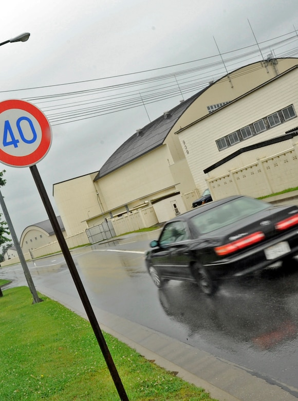 At Misawa Air Base, Japan, speed limits range from 25 to 60 kilometers per hour. Driving within the speed limit allows for more time to react to unexpected variables like other vehicles, pedestrians, cyclists, pot holes or other road obstacles. (U.S. Air Force photo by Airman 1st Class Kenna Jackson)