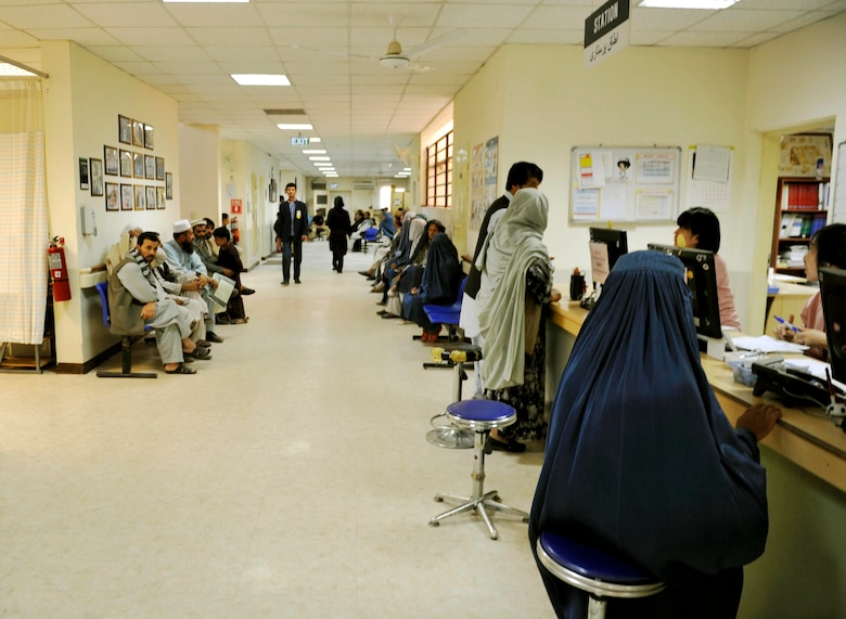 Local Afghan patients wait to be seen in the Korean Hospital on Bagram Airfield, Afghanistan, July 10. The hospital is one of two hospitals that treat walk-in, local-national patients (U.S. Air Force photo/ Staff Sgt. Stephenie Wade)