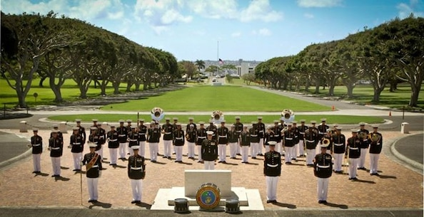 The Marine Forces Pacific Band (2012) at Punchbowl-National Cemetery of the Pacific.