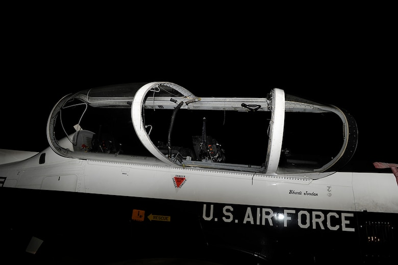 The canopy glass shattered when the canopy fracturing system was inadvertently activated by the student pilot during a touch-and-go landing. (USAF Photo)