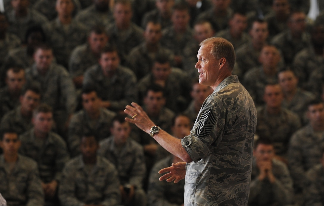 Chief Master Sgt. of the Air Force, James Cody addresses the Airmen of Minot Air Force Base, N.D., at an all call event July 12, 2013. Airmen were able to ask questions regarding the topics foremost on their minds and the event was also streaming live to those deployed to the missile complex. (U.S. Air Force photo/ Airman 1st Class Stephanie Ashley)