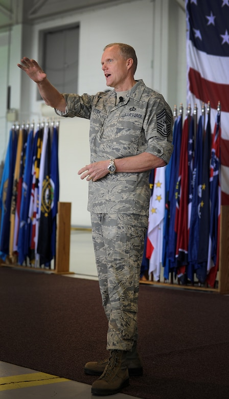 Chief Master Sgt. of the Air Force, James Cody speaks at an all call for Airmen from Minot Air Force Base, N.D., July 12, 2013. Cody touched on the topics of financial aid, the future of the enlisted performance report system and the importance of the wingman concept as it applies to the daily lives of Airmen. (U.S. Air Force photo/ Airman 1st Class Stephanie Ashley)