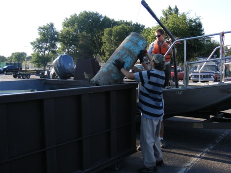 The 2013 Missouri River/Lake Sharpe Clean up netted 1,560 pounds of lumber and other rubble, 1,380 pounds of trash and litter, 540 pounds of scrap metal - including a refrigerator, a large plastic culvert weighing approximately 400 pounds and 180 pounds of tires.
