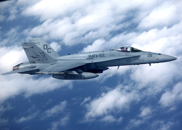 An F/A-18 Hornet aircraft conducts air operations over Beaufort, S.C., Feb. 8, 2012. The F/A-18, assigned to the U.S. Marine Corps' Marine Fighter Attack Squadron (VMFA) 122, Marine Aircraft Group 31, 2nd Marine Aircraft Wing, is supporting exercise Bold Alligator 2012, a joint and multinational exercise focused on revitalizing the amphibious expeditionary tactics, techniques and procedures of the U.S. Navy and Marine Corps. (U.S. Marine Corps photo by Lance Cpl. Ashley E. Santy)