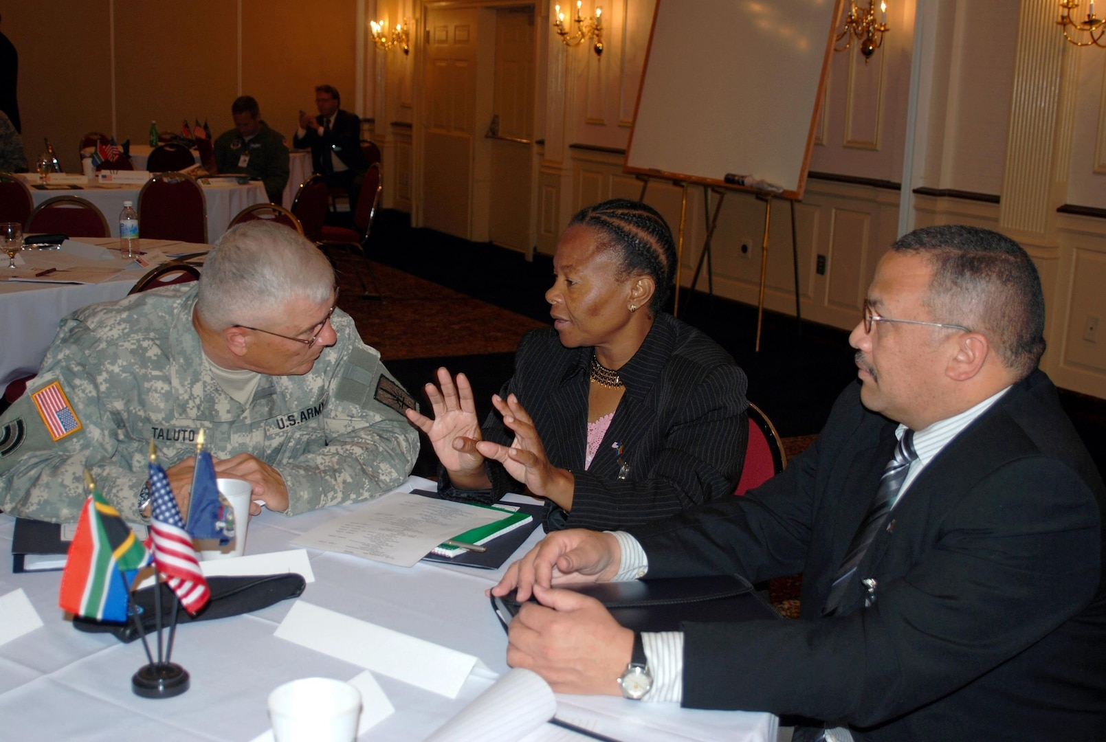 New York State Adjutant General Maj. Gen. Joseph Taluto speaks with Ms. Susan Shabangu, the South Africa Deputy Minister for Safety and Security during the National Guard's State Partnership Conference in Latham on September 4. Leaders from the South African Defense Forces and New York National Guard met to discuss emerging opportunities for military to military relations and continuing partnerships with New York's government agencies.