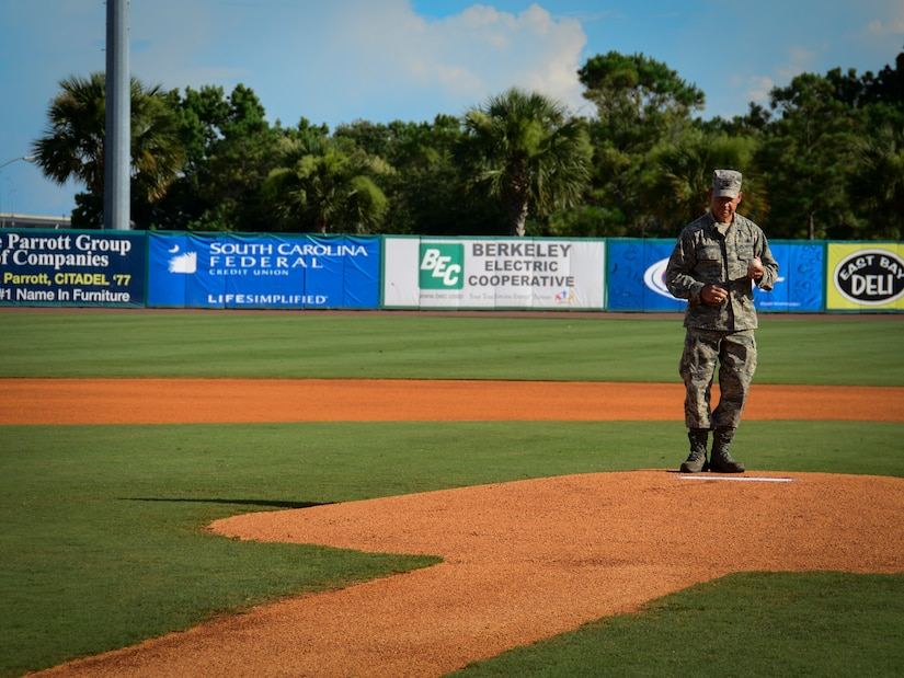 Col. James Hurley, 315th Mission Support Group commander, prepares to throw the ceremonial first pitch during Military Appreciation Night July 13, 2013, at the Joseph P. Riley Jr. ballpark in Charleston, S.C. The Charleston RiverDogs hosted Military Appreciation Night to show their support for the local military. (U.S. Air Force photo/ Staff Sgt. Anthony Hyatt)