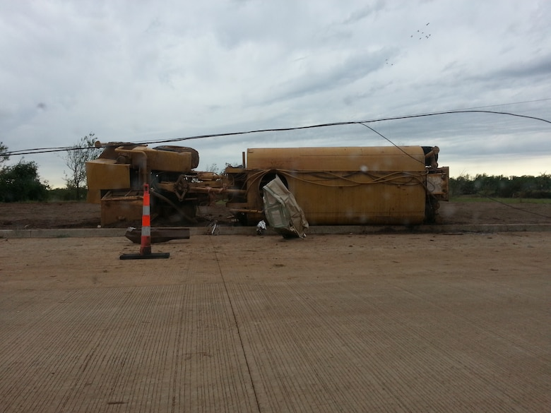 MOORE, Okla. -- A water truck lies overturned after an EF-4 tornado struck the area May 20, 2013.