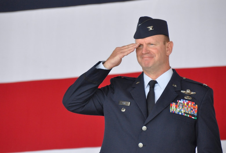 Col. Christian G. Funk, new 482nd Fighter Wing commander, salutes during the 482nd FW change of command ceremony at Homestead Air Reserve Base, Fla., July 14. (U.S. Air Force photo/Senior Airman Jaimi Upthegrove)