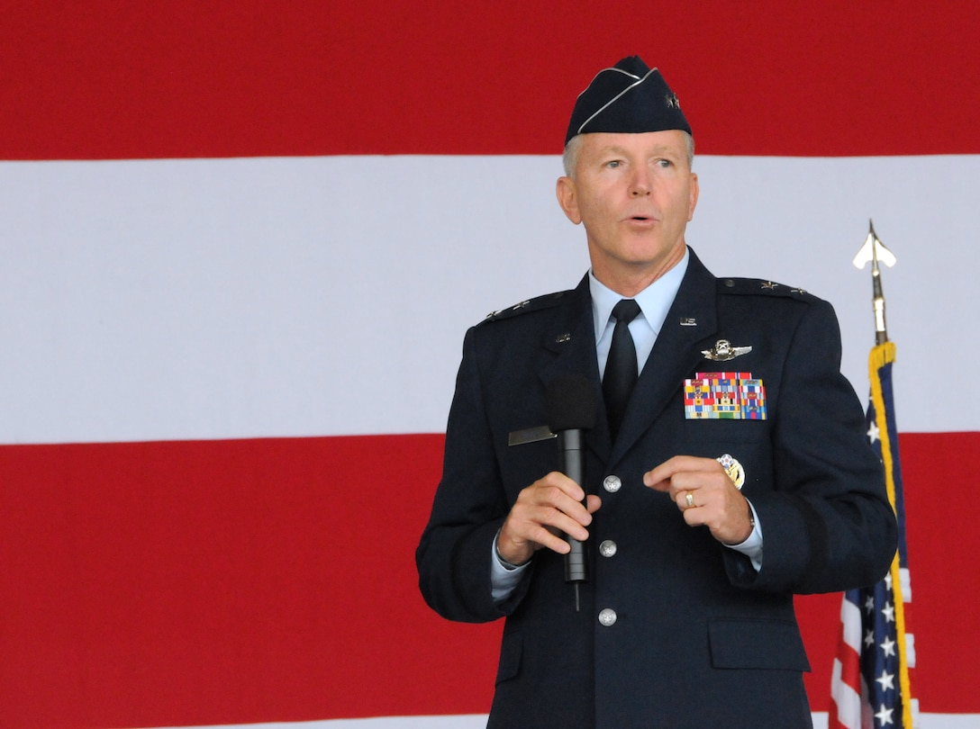 Maj. Gen. William B. Binger, 10th Air Force commander, addresses the crowd during the 482nd Fighter Wing change of command ceremony at Homestead Air Reserve Base, Fla., July 14. (U.S. Air Force photo/Senior Airman Jaimi Upthegrove)