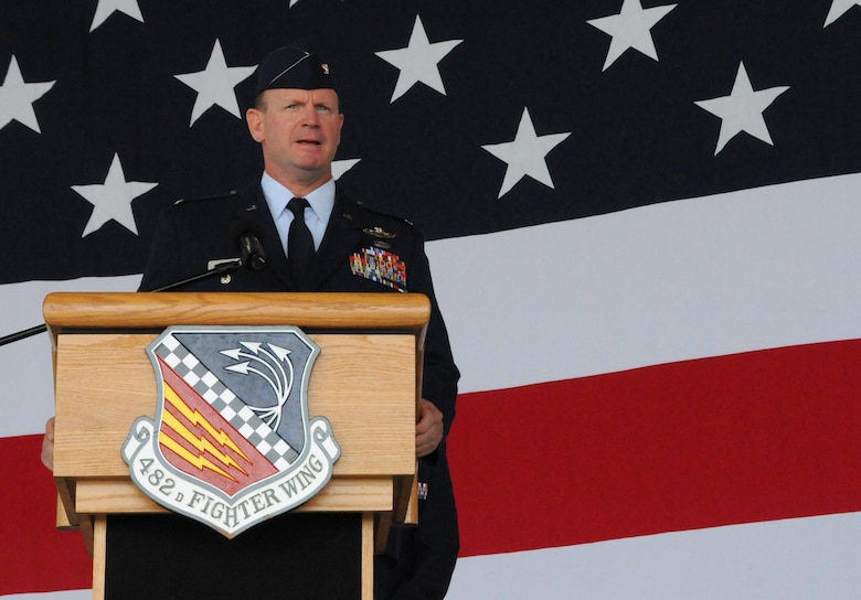 Col. Christian G. Funk, new 482nd Fighter Wing commander, addresses the crowd during the 482nd FW change of command ceremony at Homestead Air Reserve Base, Fla., July 14. (U.S. Air Force photo/Senior Airman Jaimi Upthegrove)