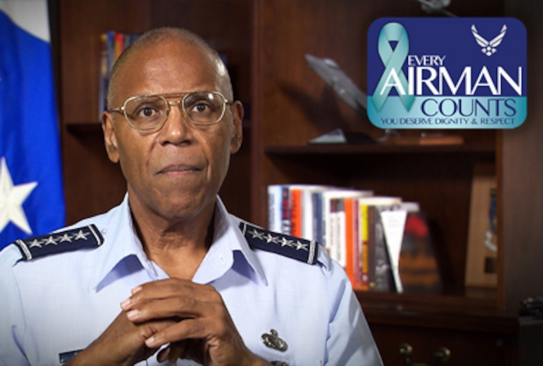 "Gen. Larry Spencer, the Air Force vice chief of staff, encourages Airmen to get involved with ""Every Airman Counts"". The initative is designed to foster communication between Airmen and senior leaders about sexual assault prevention and response. (U.S. Air Force graphic)"