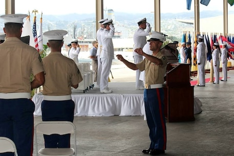 On 12 July 2013, the Marine Forces Pacific Band performed for the US Navy's Fleet Logistics Center - Pearl Harbor Change of Command Ceremony. The band was under the direction of the Enlisted Conductor, GySgt Daniel Sullivan.