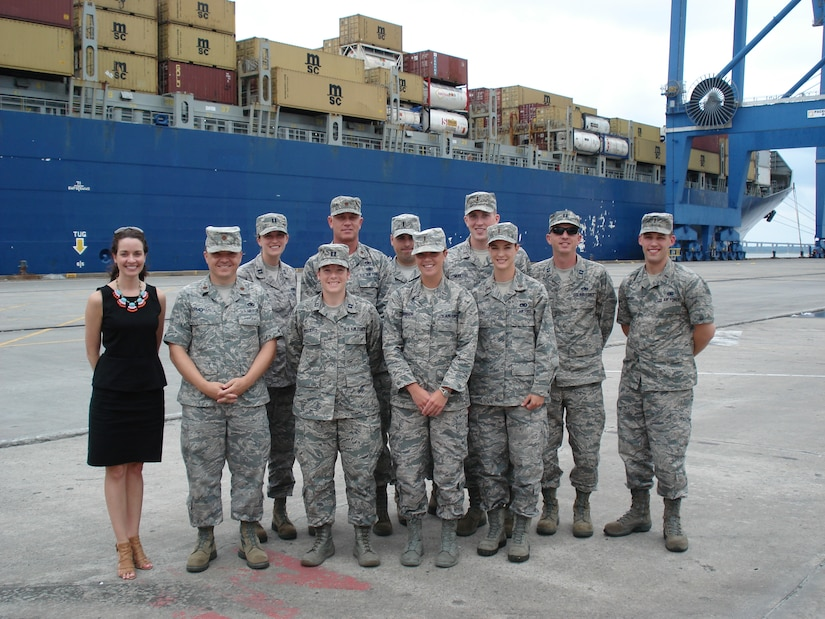 The Joint Base Charleston Logistics Officer Association - Globemaster Chapter recently received a tour of the South Carolina Ports Authority, June 20, 2013. The group of 11 military and civilians received a bird's eye view of how a vibrant commercial seaport operates day-to-day, how import and export containers are processed, how dockside cranes operate, and how the Ports Authority is planning for the future.  The presentation and tour took place at the Port of Charleston's Wando Welch Terminal in Mount Pleasant, S.C.  The Port of Charleston processes $63 billion in international trade each year and facilitates one in 11 jobs statewide. The Port operates the state's vital seaport assets in Charleston and Georgetown and recently projected $123 million in capital spending, which equates to 6% in container growth overall. (Courtesy photo)