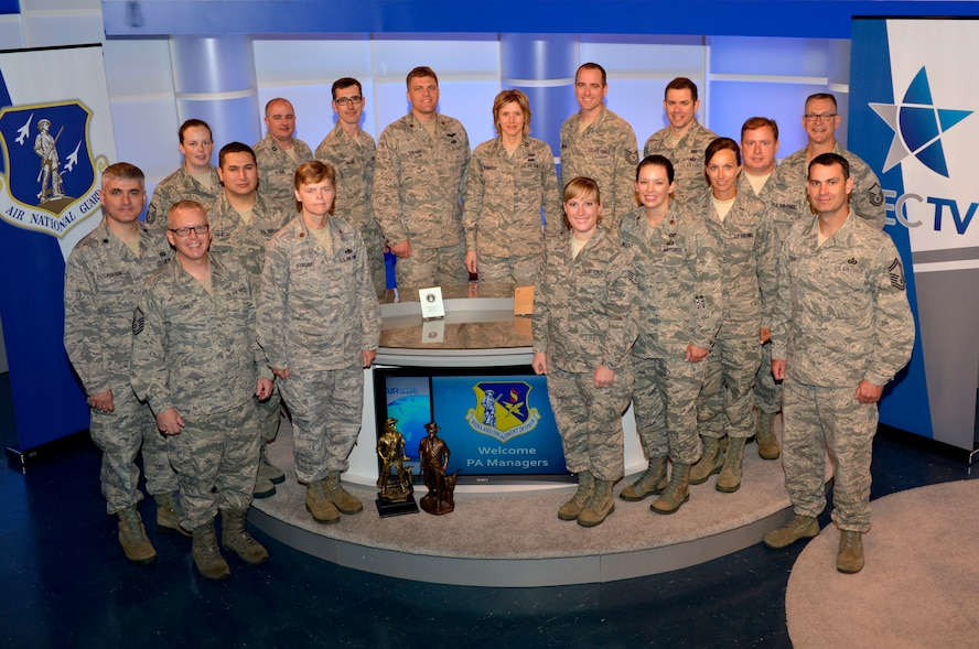 MCGHEE TYSON AIR NATIONAL GUARD BASE, Tenn. – Instructors, a guest speaker and students of the I.G. Brown Training and Education Center's Public Affairs Managers Course tour the TEC TV Broadcast Studio - home of the Warrior Network - here, July 17, 2013, as part of a meet and greet with the Center's Media and Engagement Division personnel. (U.S. Air National Guard photo by Master Sgt. Kurt Skoglund/Released)