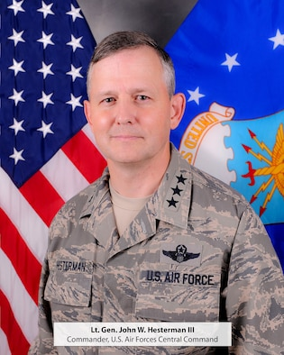 Lt. Gen. John Hesterman is the Commander, U.S. Air Forces Central Command, Southwest Asia. As the Air Component Commander for U.S. Central Command, the general is responsible for developing contingency plans and conducting air operations in a 20-nation area of responsibility covering Central and Southwest Asia. (U.S. Air Force photo by Tech. Sgt. Joselito Aribuabo)