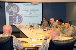 Maj. Gen. Karl R. Horst, Joint Force Headquarters National Capital Region commanding general, provides details of his command's mission and capabilities within the national capital region to National Guard leaders as part of the Contingency Dual Status Commanders' Conference Feb.