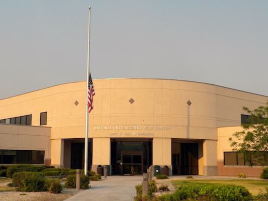 The flag outside the National Interagency Fire Center in Boise, Idaho, flies at half-staff July 10, 2012, in honor of the four crewmembers of MAFFS 7 who were killed when their MAFFS-equipped C-130 crashed during a fire fighting mission in South Dakota July 1. All Department of Agriculture and Department of Interior agencies flew their flags at half-staff to coincide with the crewmembers' memorial service held in Charlotte, N.C., that same day.