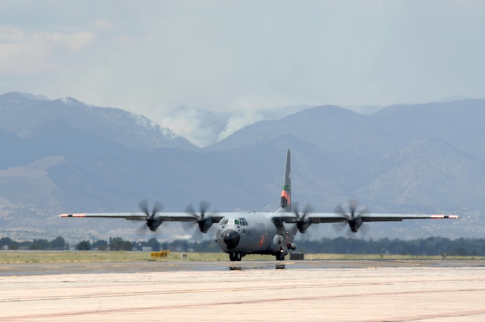A MAFFS-equipped C-130 from the 146th Airlift Wing of the California Air National Guard arrives at Peterson Air Force Base, Colo., June 30, to support wildland fire fighting operations in the western United States. Four MAFFS units are scheduled to arrive June 30, joining four already operating out of Peterson AFB. The eight MAFFS constitute the entire U.S. military MAFFS fleet. The four units supporting the fire fighting effort are the 302nd Airlift Wing from Peterson AFB, the 146th Airlift Wing from Channel Islands, Calif., the 153rd Airlift Wing from Cheyenne, Wyo., and the 145th Airlift Wing from Charlotte, N.C.