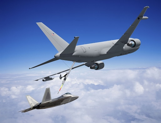 A KC-46 conducts in-flight refueling on a F-22 fighter in this illustration. The first KC-46 is expected to fly in 2015. (Air Force illustration)