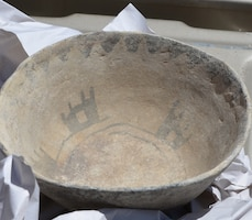 GALLUP, N.M.-- One of the complete bowls that was returned to the Navajo Nation in the Corps' repatriation of 425 artifacts, July 9, 2013.