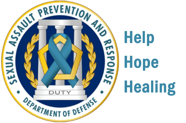 The Sexual Assault Prevention and Response (SAPR) program has helped educate and train Service members as well as respond to cases of sexual assault since 2005.  The SAPR Office seal, a teal blue awareness ribbon intertwined with a pentagon, highlights the Department of Defense's commitment to the program's mission.  (U.S. Air Force graphic by Airman 1st Class Brittain Crolley/Released)