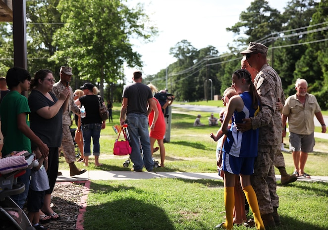 A Marine with Combat Logistics Battalion 6, 2nd Marine Logistics Group has his picture taken with family before leaving on a deployment to Afghanistan aboard Camp Lejeune, N.C., July 10, 2013. Service members were given an opportunity to spend time with family and friends, who saw them off safely on the deployment.