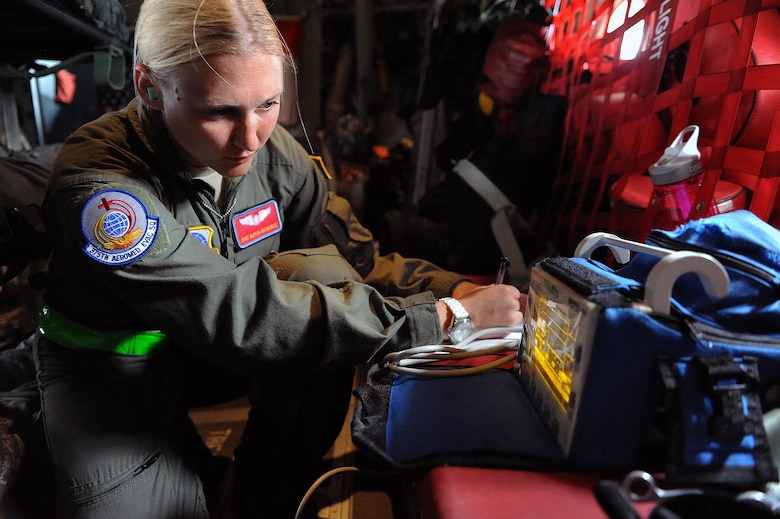Staff Sgt. Alyssa Dutkiewicz checks vital signs during a training exercise July 13, 2013, at Scott Air Force Base, Ill. Members of the 375th Aeromedical Evacuation Squadron trained with the Canadian air force to improve their aeromedical evacuation training. The Canadian air force demonstrates the way they perform an evacuation response to other NATO countries. Dutkiewicz is assigned to the 375th AES. (U.S. Air Force photo/Airman 1st Class Jaeda Waffer)