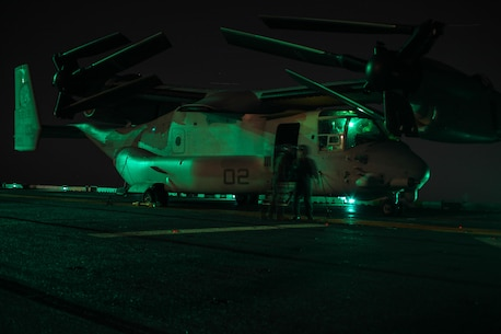 Crew chiefs and pilots of Marine Medium Tiltrotor Squadron 265 (Reinforced), 31st Marine Expeditionary Unit, conduct pre-flight checks on an MV-22 Osprey in preparation for an aerial assault here, July 21. The Marines and Sailors of the 31st MEU and Amphibious Squadron 11 are part of an integrated force of approximately 18,000 U.S. service members training alongside approximately 9,000 Australian service members in the fifth iteration of Talisman Saber 2013, a month-long biennial exercise designed to enhance multilateral collaboration in support of future combined operations, natural disaster, humanitarian and emergency response. The 31st MEU is the Marine Corps' force in readiness for the Asia Pacific region and the only continuously forward-deployed MEU.